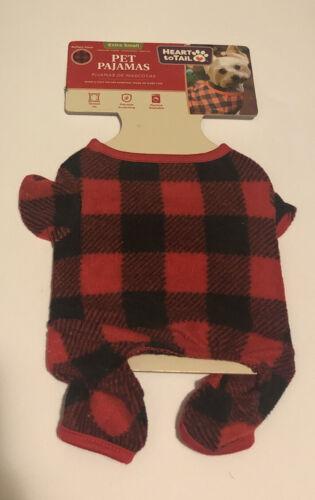 Heart To Tail Red Black Plaid Xs Dog Pet Pajamas - $2.99