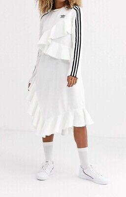 Adidas Originals x J KOO Trefoil Ruffle White Dress 3 Stripes - Size 8 - BNWT