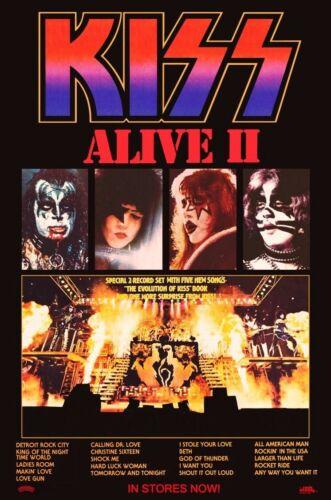 "KISS Rock Band ALIVE II Album ""24 x 36"" Inch Custom Poster - Love Gun Dynasty"