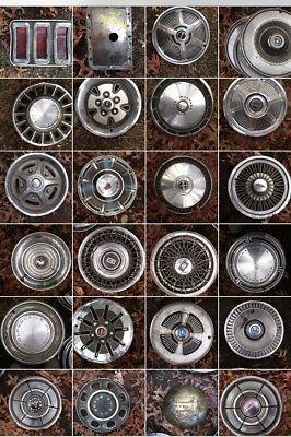 classic car hubcap lot