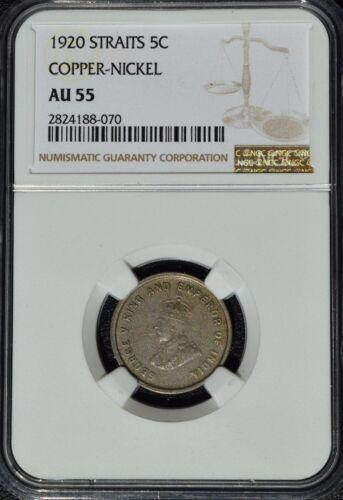1920  Straits Settlements 5 Cents, Nickel, NGC AU 55, Malaysia