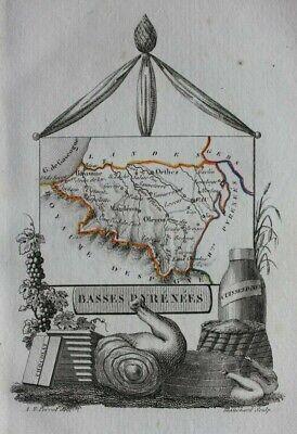 Miniature antique map, BASSES PYRENEES, PAU, BAYONNE, FRANCE, Perrot, 1824