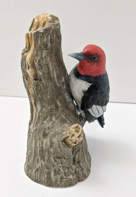Red Headed Woodpecker Ceramic Figurine Vintage Custom Box