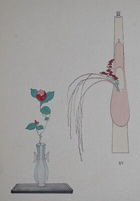 CAMELLIA & RED DAISY : Japanese WOODBLOCK PRINT Art Ikebana Flower Arrangement