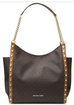 New Michael Kors Signature Newbury Medium Chain Shoulder Bag brown gold stud