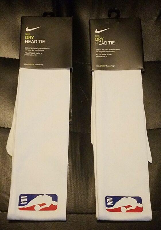 Nike NBA Head Tie (Lot of 2) Dri-Fit White One Size Headband Headtie Brand New