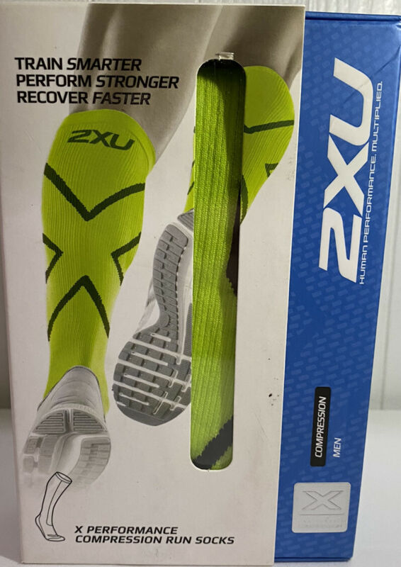 2XU Mens MA4153e X Performance Run Socks FLG/BLK Size Small