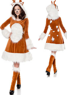 3 tlg Rehkitz Reh Kostüm Bambi Tiere braun,Damen Kleid Haarreif Stulpen (Bambi Kostüm Kostüm)