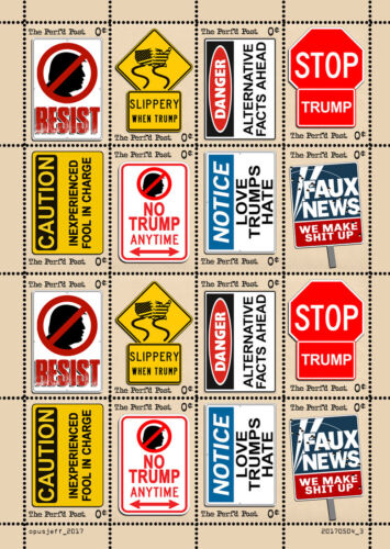 Trump - Road Sign Art Stamps (Artistamp, Faux Postage, REPRO)  RESIST!