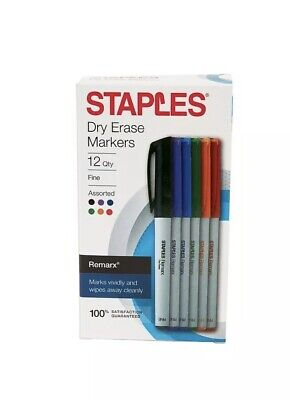Staples Remarx Dry Erase Markers Fine Point Assorted 12-pack Erase Clean New