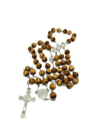 Rosary wood prayer beads  CATHOLIC Crucifix Jesus Necklace San Benito medal (Jesus Prayer Beads)
