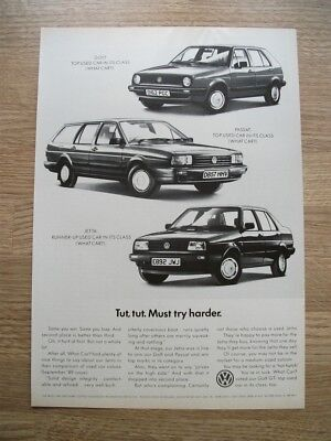 VW GOLF GTi - MUST TRY HARDER  1987 - ORIGINAL MOTOR ADVERT 30 X 21 CM WALL ART