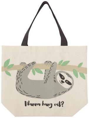 Tote Bag Crazy Sloth Lady Azure Blue 38x42cm