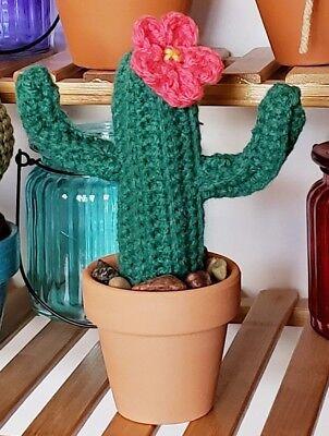 (Saguaro Cactus Plant Faux Cacti in Terra Cotta Pot Crochet Home Decor Medium )