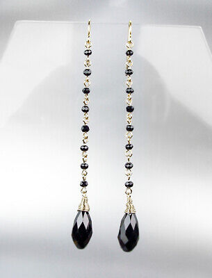 GORGEOUS & CHIC Faceted Black Onyx Oval Crystal Gold Drop Chandelier Earrings