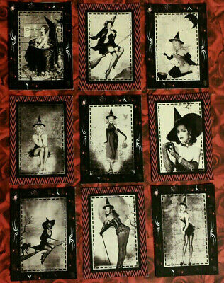Halloween Party Craft (9 Pin Up Witches~Halloween~Craft Card Inserts~Card Making~Party Favors)