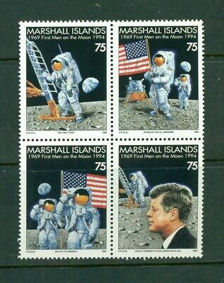 Marshall Islands #586a (1994 Moon Landing/Kennedy block of 4)  VFMNH CV $4.50