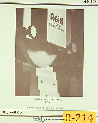 Reid 618hr Surface Grinder Instructions And Parts List Manual