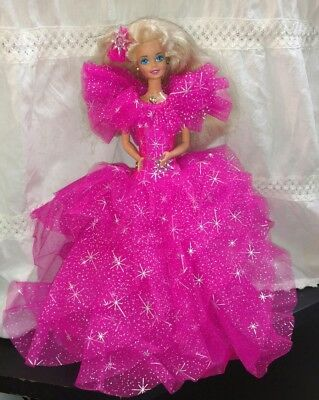 Mattel Barbie Happy Holidays 1990 Pink Dress Christmas Doll