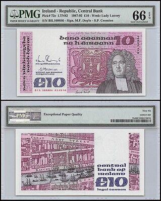 Ireland 10 Pounds, 1987-92, P-72c, UNC, Lady Lavery, PMG 66 EPQ