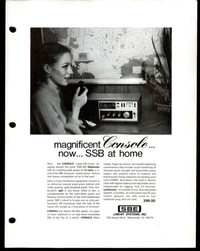 Vintage SBE Console Sidebander SSB/AM Radio Print Ad Sales Spec Sheet