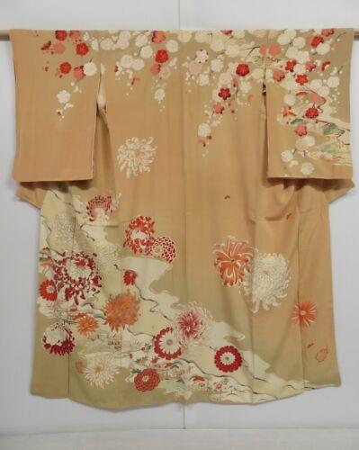 1019i08z830 Vintage Japanese Kimono Silk TSUKESAGE Peach orange Plum branch