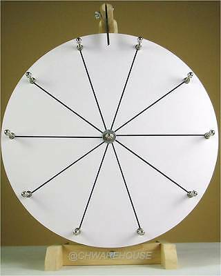 "16"" Woodwell® Tabletop White Dry Erase Fortune Prize Wheel,10Slots-Wood-Spinning"