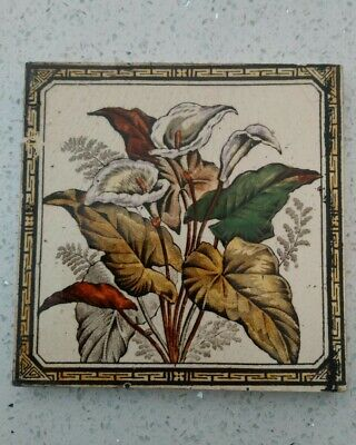 Antique Victorian Arum Lily & Fern Floral English Fireplace Tile no 85 Reg'd 67