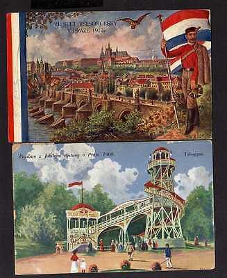 113463 2 AK Prag 1908 Jubiläums Ausstellung Sonderstempel Toboggan Fahrgeschäft