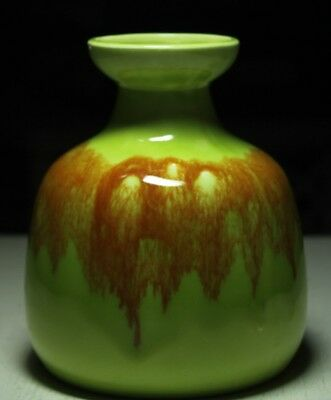 Vintage Japanese art pottery vase Tilso lime green brown drip glaze hand painted