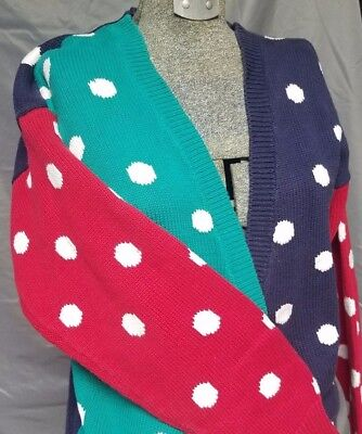 (Classic 80s Vintage Polka Dotted V-Neck Cardigan Sweater Womens Small Cotton Red)