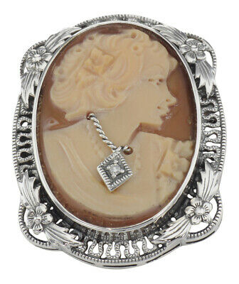 Floral Cameo Pin - Victorian Floral Style Cameo Pin or Pendant with Diamond - Sterling Silver