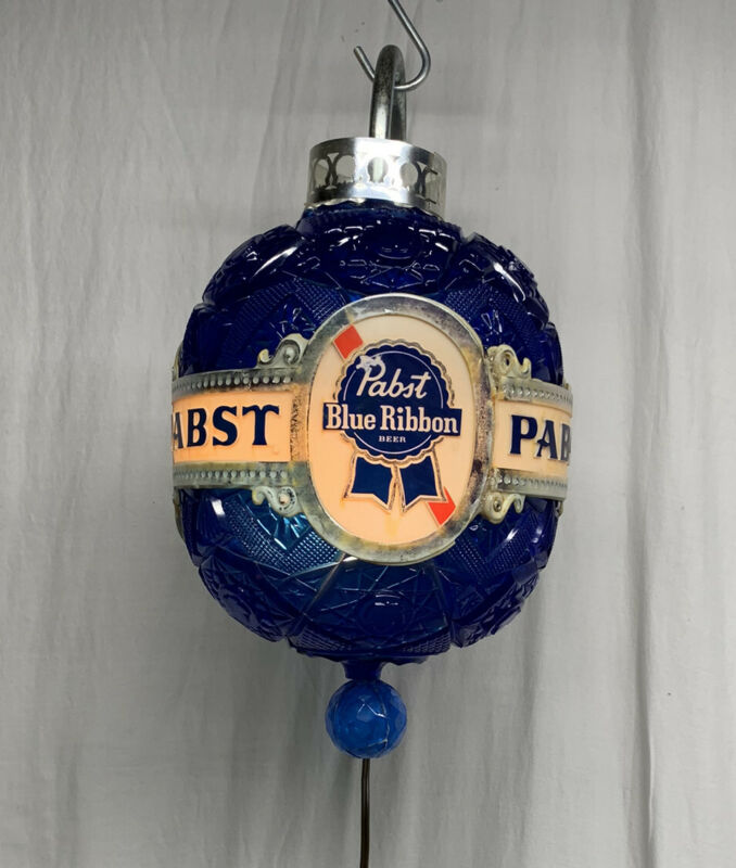 Vintage RARE PBR Pabst Blue Ribbon SPINNING Faux Crystal Wall Sconce Light