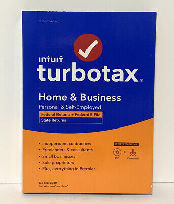 Intuit TurboTax Home & Business Federal E-File +State 2020 PC CD WINDOWS MAC NEW