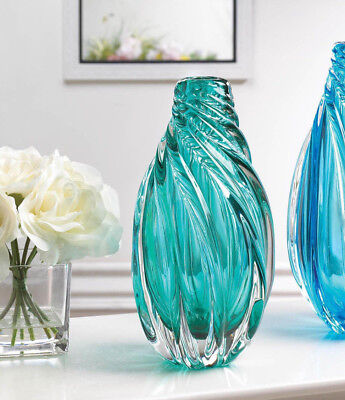 teal aqua GREEN BLUE abstract modern art Glass Sculpture Flower VASE - Glass Vase Centerpieces