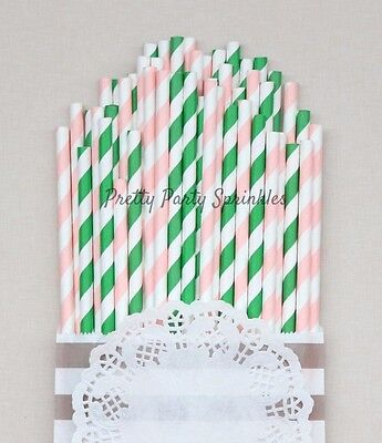 Tropical Flamingo Party Supplies 50 Light Pink, Green Striped Straws/Palm Beach  ()