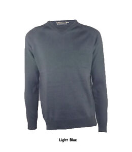 New Mens 100% V Neck Plain Light Knitted Jumper RRP£19.99 6 Colours S/M/L/XL/XXL
