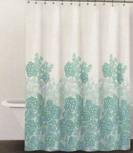 Dkny Graphic Lace Fabric Shower Curtain Glacier Blue Teal And White Cotton Ebay
