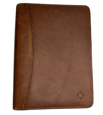 Franklin Covey Spacemate Nappa Leather Brass Compact Usa Vintage Planner Binder