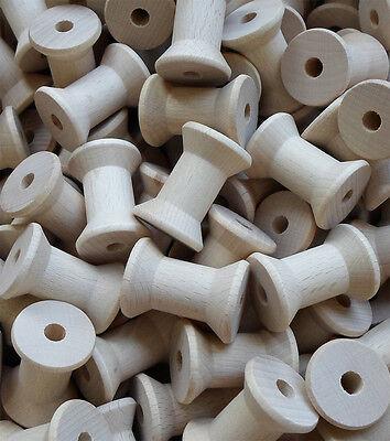 Zwirnspule, Garnrolle, ca. 39 mm Lang, Holzspule, Spule, Buche unlackiert