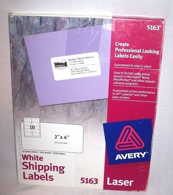 Avery Laser Labels 2 X 4 White 1000 Box 100 X 10 Per Sheet 5163