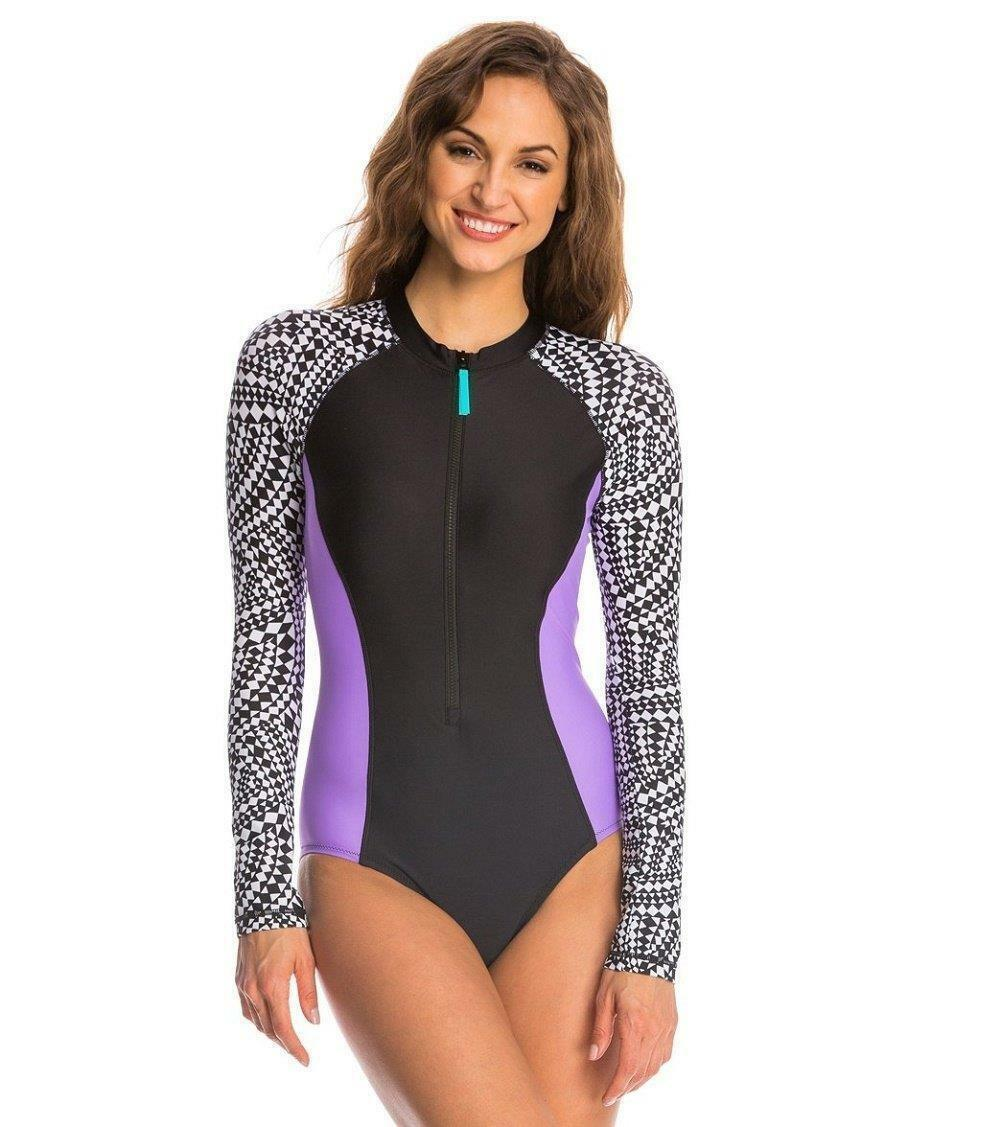 Speedo Womens Long Sleeve Swimsuit One-Piece Rash Guard Zip