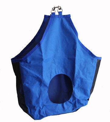 Horse Hay Bag Tote Mesh Gussets Bottom 600D Canvas Nylon Metal Snap Royal Blue