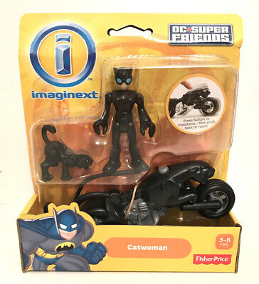 Imaginext BATMAN DC Super Friends CATWOMAN w/Cat Motorcycle New In Worn Package