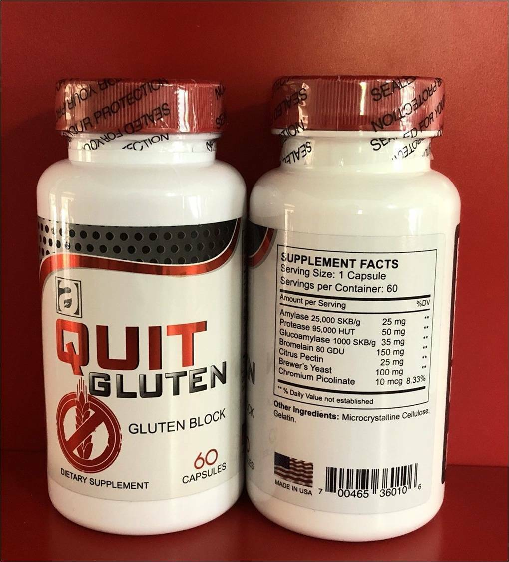 Quit Gluten Block Free 40 % Off 120 capsules Dietary Supplement Easy Digestion 1