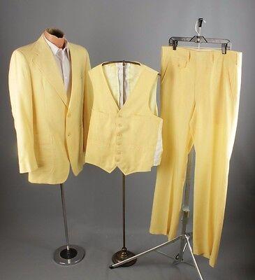 Vtg 1970s 3-Piece Lemon Yellow Leisure Suit Jacket sz L Pants 37x33 #2483 Disco