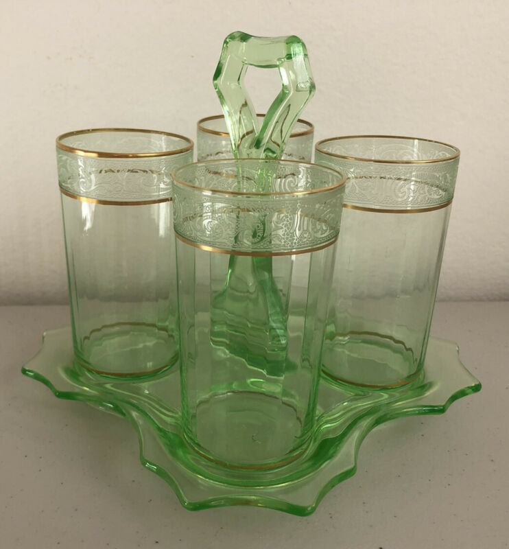Green Uranium Depression Glass Tumblers Holder Pristine Floral Rim Design Panel