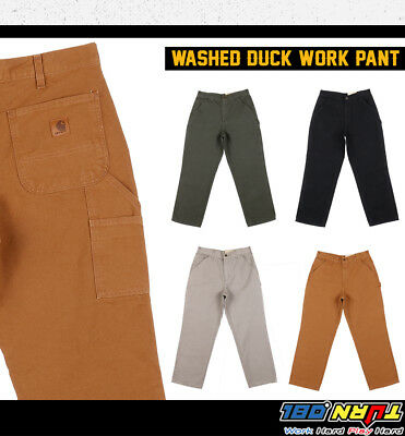 Carhartt Men's Washed duck Work Pants Loose Fit Dungaree Utility Pockets #B11