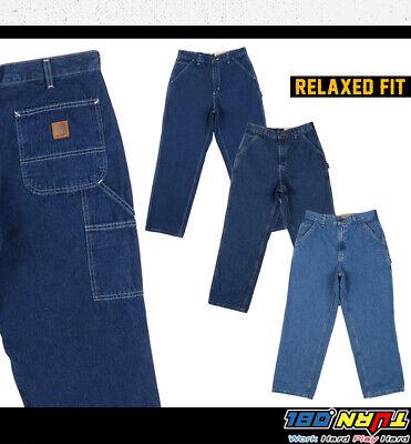 Carhartt Mens Loose Original Fit Work Jean Stone Washed MIdweight Denim Pant B13 Cotton Work Jean