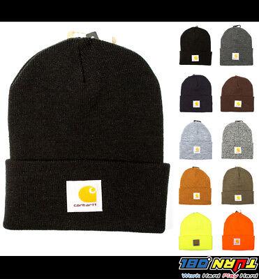 Carhartt Mens Acrylic Watch Hat A18 Rib Knit Beanie Cap Warm Ski (NWT All Color) Rib Knit Hat
